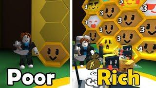 Poor Noob VS Rich Noob - Bee Swarm Simulator