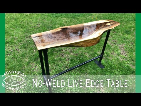 Live Edge Table with No-Weld Custom Metal Base using 3D Printed Brackets // How-To Builds