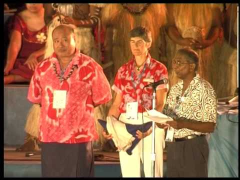 South Pacific Games 2007. Ceremonial flag handover for 2011,  14th Pacific Games in New Caledonia.