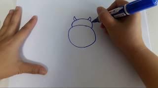 How to draw Moo Moo สอนวาดวัวง่ายๆใน1นาที