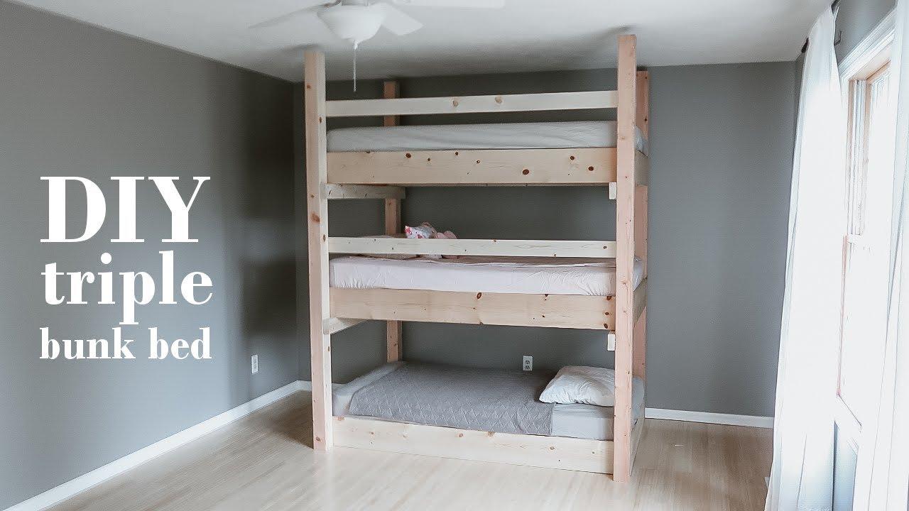 Diy Minimalist Triple Bunk Bed Less Than 200 Youtube