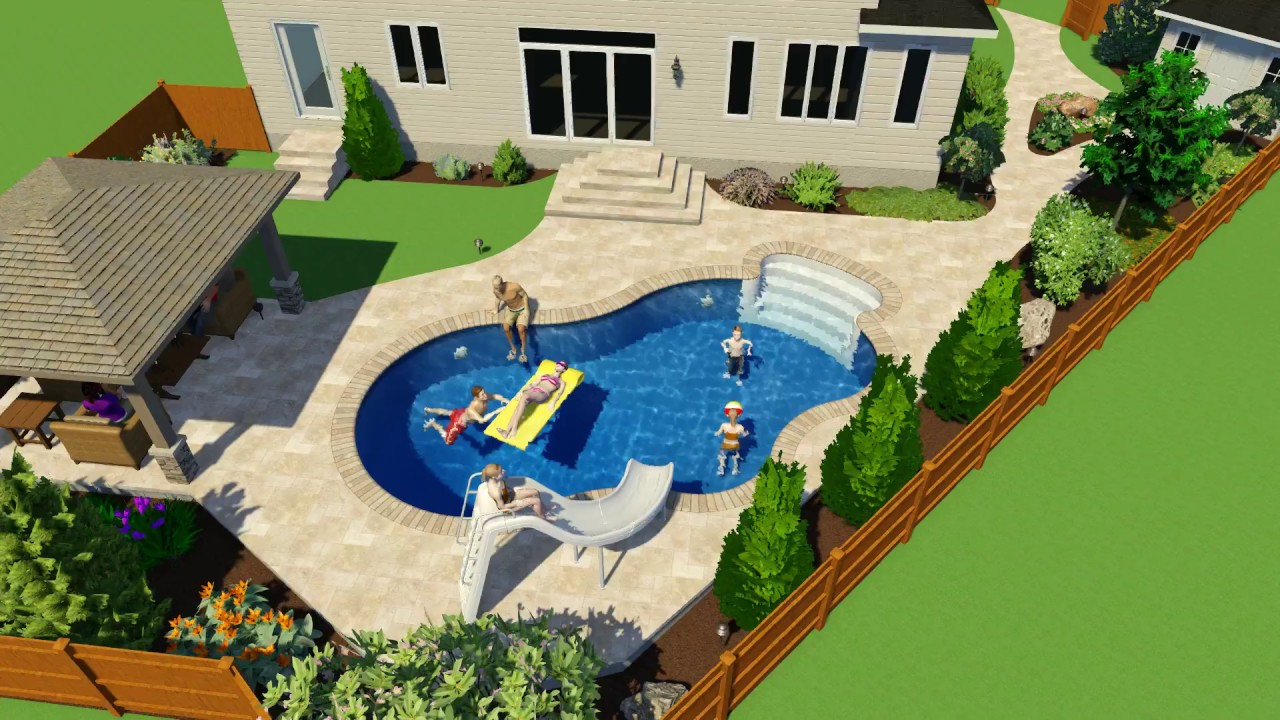 14 x 28 lagoon pool with slide and gazebo rideau pools for Pool design ottawa