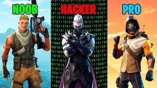 Difference between NOOB vs PRO vs HACKER in Fortnite Battle Royale
