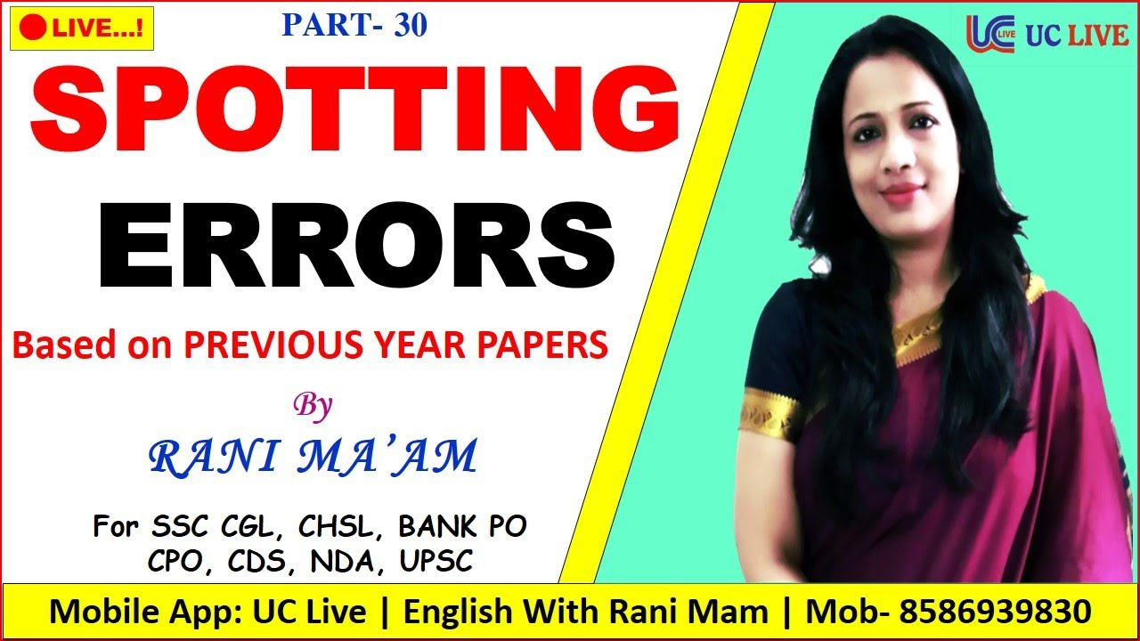 Spotting Error Based on SSC CGL 2019 Tier 1 | PYQ Series By Rani Ma'am