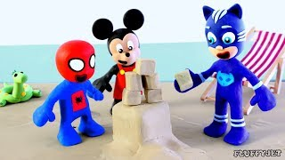 Superhero Cartoon Baby Sand Art with Friends! Play doh Stop Motion Animations for Kids