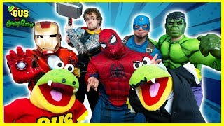 Marvel Avengers from End Game Play Hide and Seek with Gus the Gummy Gator