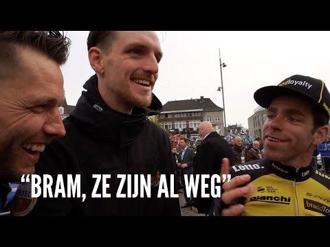 Puck Moonen,  Ellen van Dijk, Floortje Mackaij en Lars Boom tijdens de Amstel Gold Race.