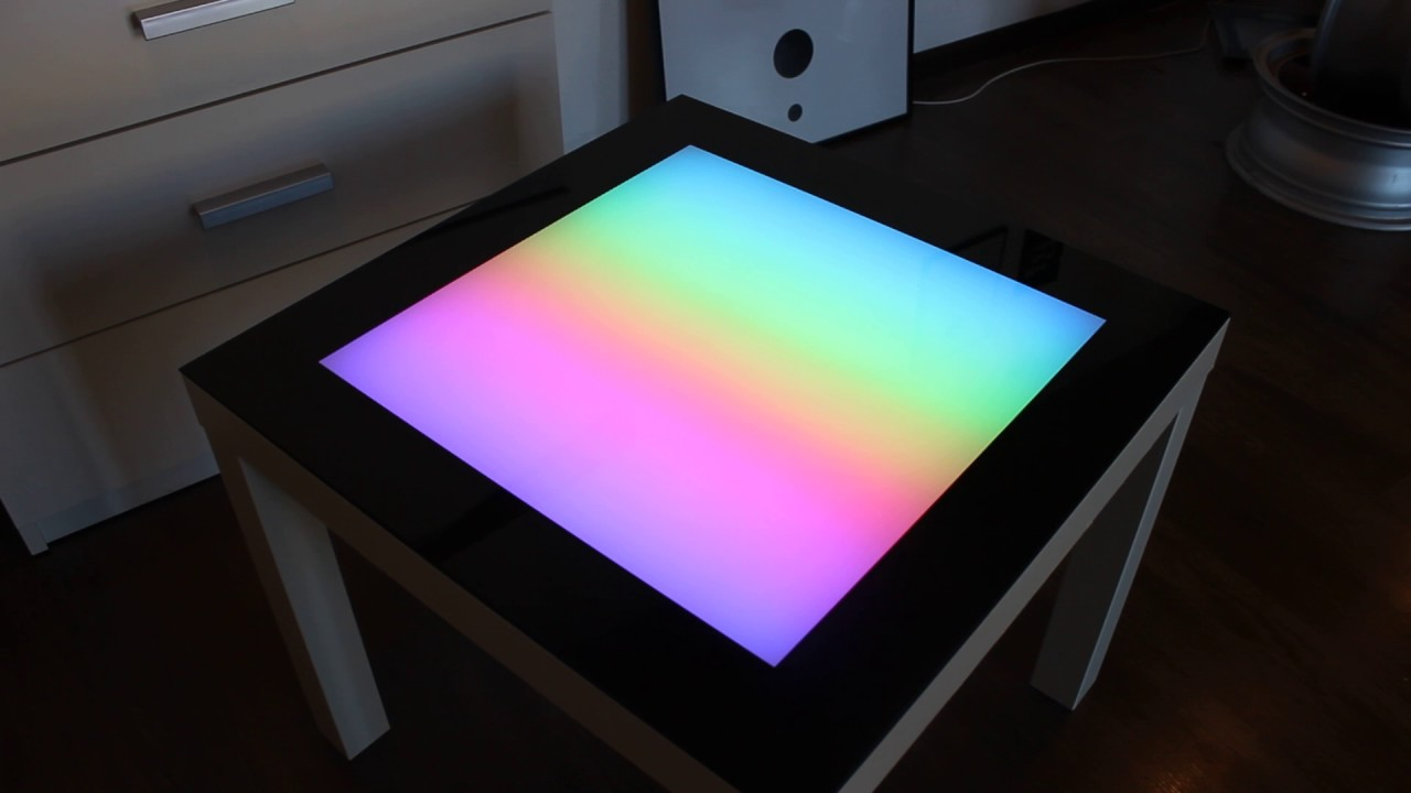 Led Coffee Table Arduino LED Table Colored Glass Table