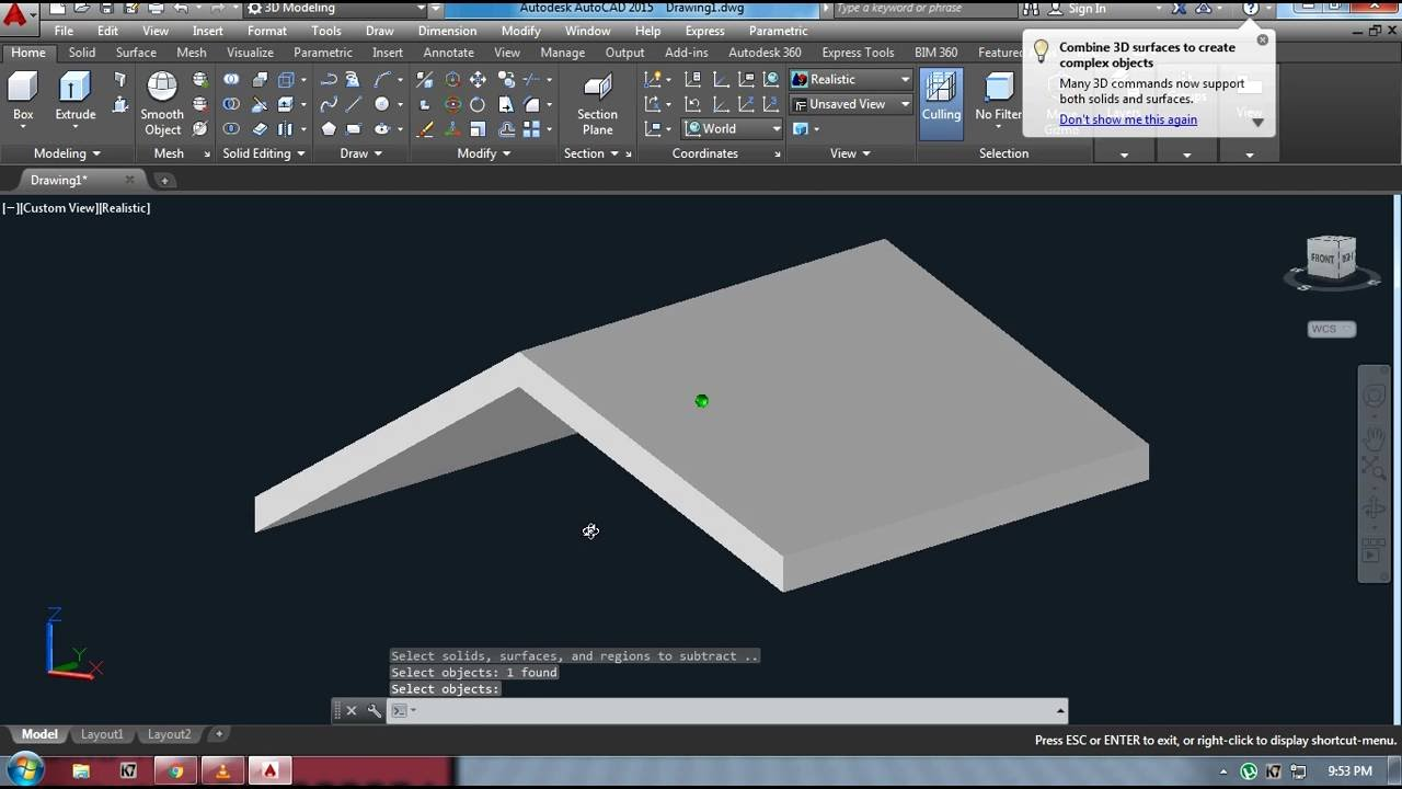 Creating Gable Roof In Autocad Youtube