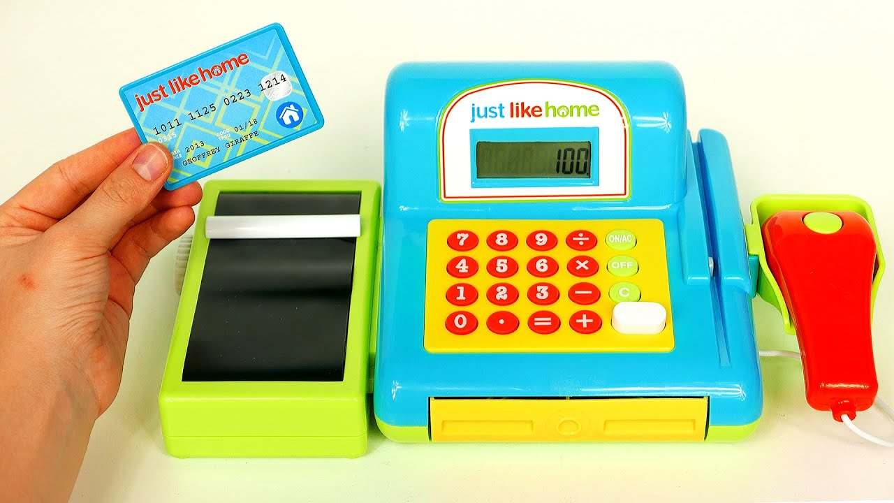 Just Like Home Cash Register Playset Playing with Toys for Kids