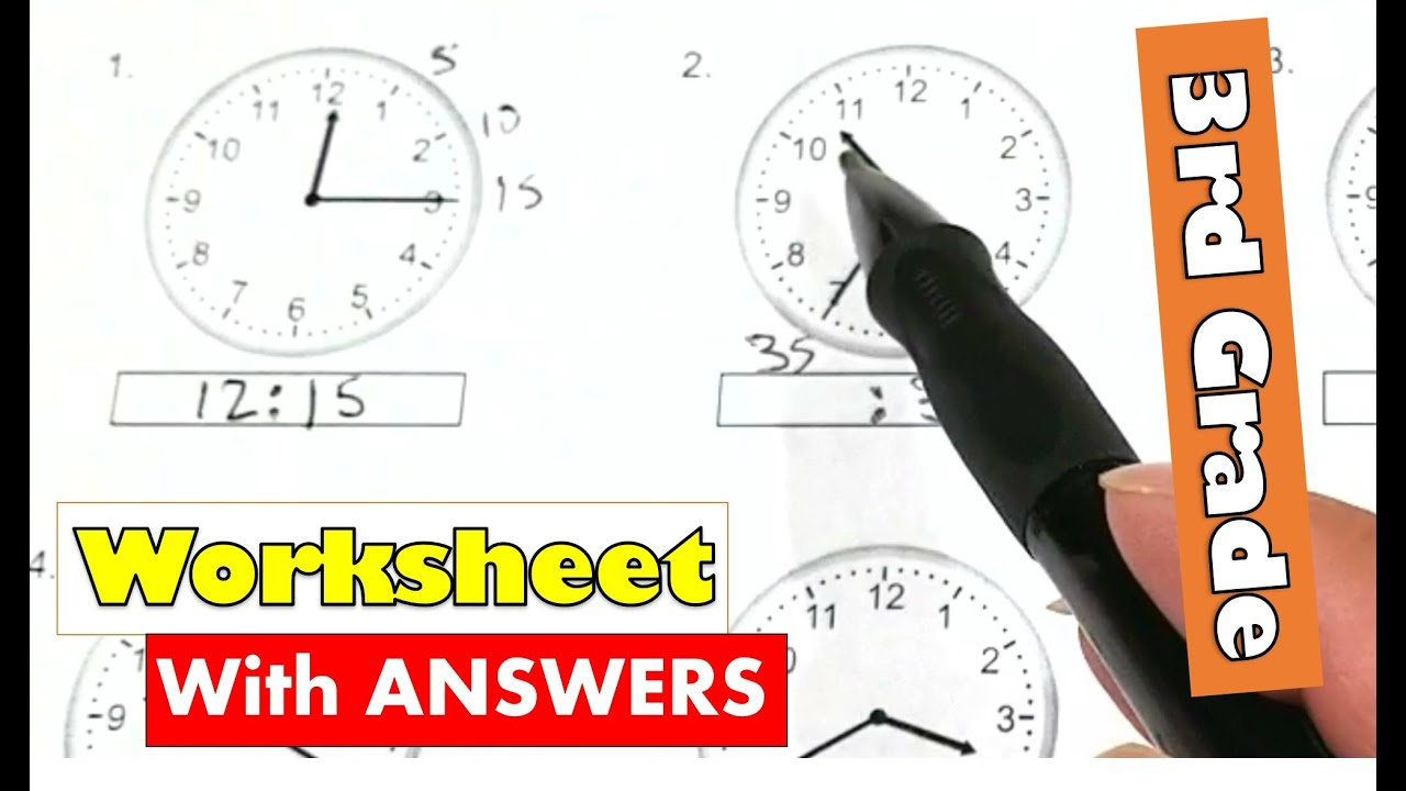 hight resolution of 3rd Grade Math - Tell Time By 5 Minutes Intervals Worksheet With Answers    Homework Online - YouTube