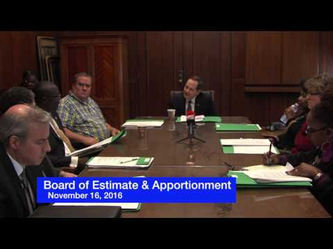 Board of Estimate & Apportionment Meeting  11- 16-2016