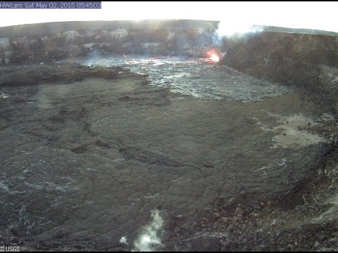 5/02/2015 — Hawaii Volcanic lava lake now SURGING -- Multiple views of Kilauea Caldera via USGS