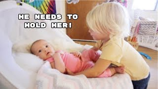2 YEAR OLD BEGS TO HOLD NEWBORN SISTER