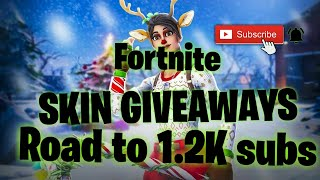 FREE FORTNITE SKIN GIVEAWAY!!| Squads with subs| Join in| Road to 1.2K!