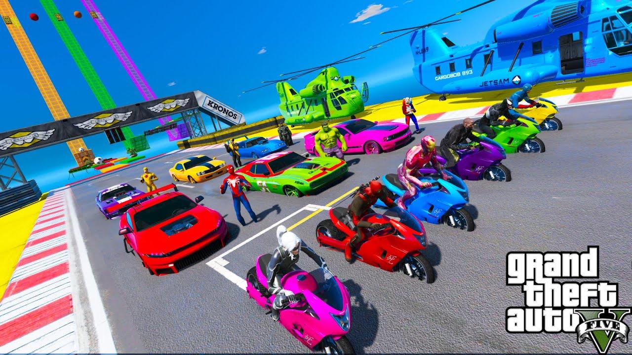 Carros e Motos com Homem Aranha e Super Heróis! New Relay Race Spiderman Cool Cars and Bike - GTA V