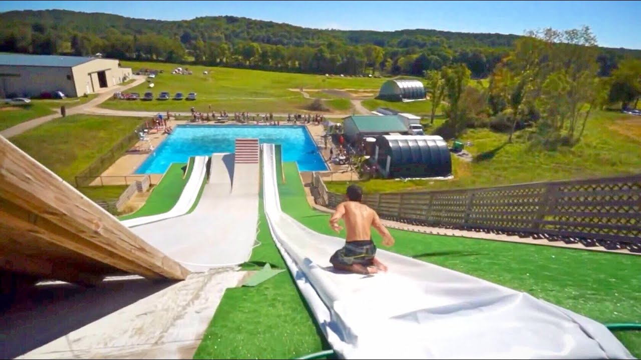 epic slip n slide pool party 2013 youtube - Big Houses With Pools With Slides