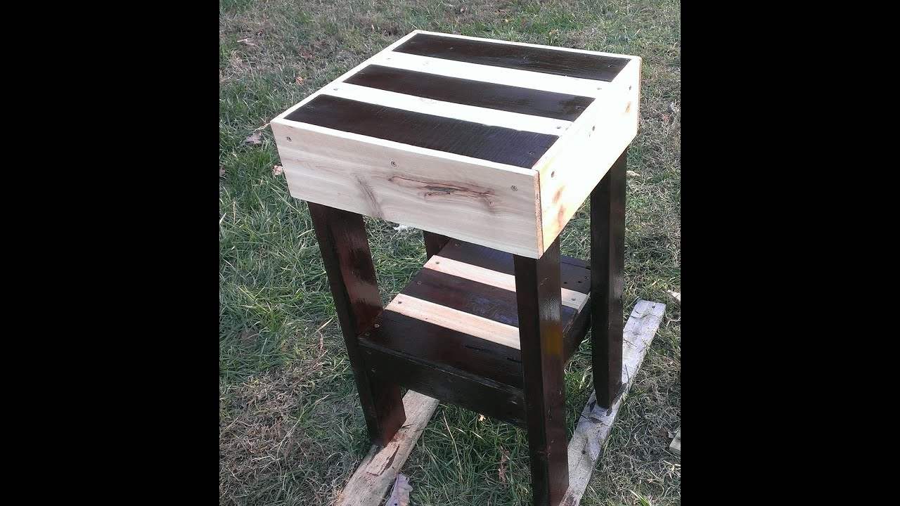Pallet furniture how to make a pallet end table youtube for How to make furniture out of wood pallets