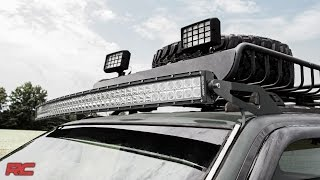 jeep grand cherokee zj 50 inch curved led light bar upper windshield mount by rough country