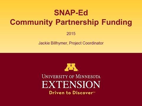 SNAP-Ed Community Partnership Funding Info Session