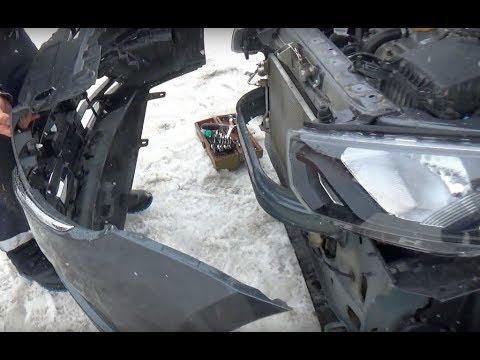 Granta FL\Снятие переднего бампера\Установка защитной сетки\