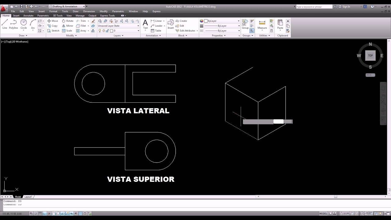 Curso AutoCAD 2D Aula : Perspectiva isométrica de peça mecânica  #456A86 1920 1040