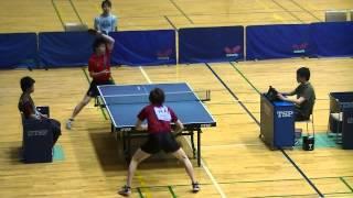 関西学生卓球選手権 8決定 中村(立命館大)vs藤原(近大)