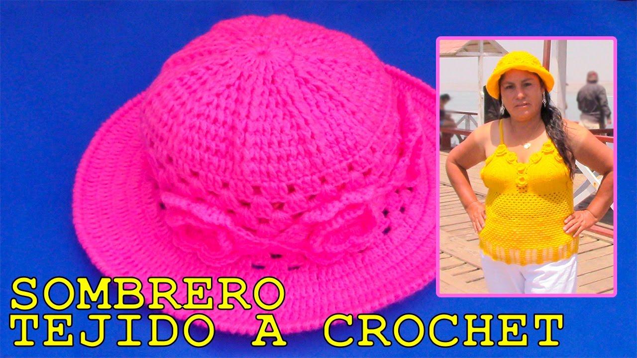 54574f3dd5d20 Sombrero tejido a crochet con aplicaciones de rosas paso a paso ...