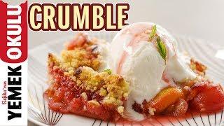 Şeftali ve Kirazlı Crumble Tarifi | Üzerinde Bademli Kırıntı ve Dondurması ile Kolay Tatlı Tarifi