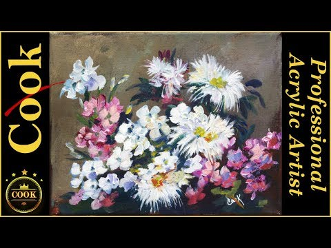 Two Simple Brush Strokes for Painting Fabulous Flowers  for Beginners with Ginger Cook