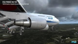 FSX PMDG 747 V3  Tokyo Narita Visual Approach RWY16R