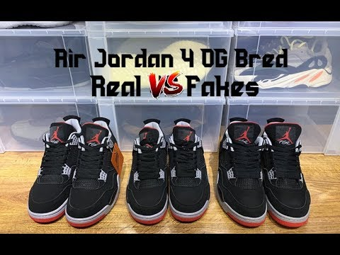ea59109ff84 Air Jordan 4 OG Bred 2019 Real VS Fakes Comparison