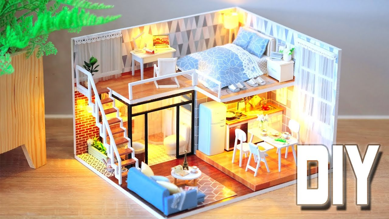 Diy Miniature Dollhouse Kit Blue Times With Full