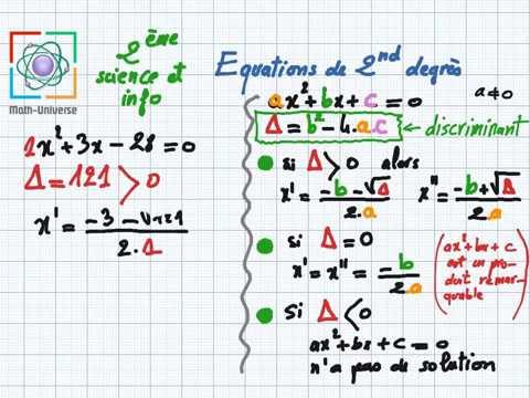 équations de second degré partie1 2eme SC / Info - YouTube