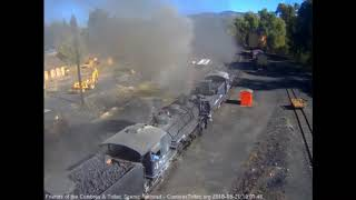 9/21/2018 Nine car train 216 departs Chama, NM behind double headed K36