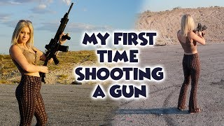 MY FIRST TIME EVER SHOOTING A GUN!!