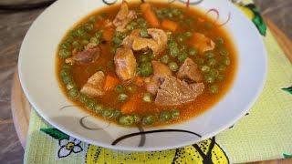 Зелёный горошек тушёный со свининой/Green peas with meat
