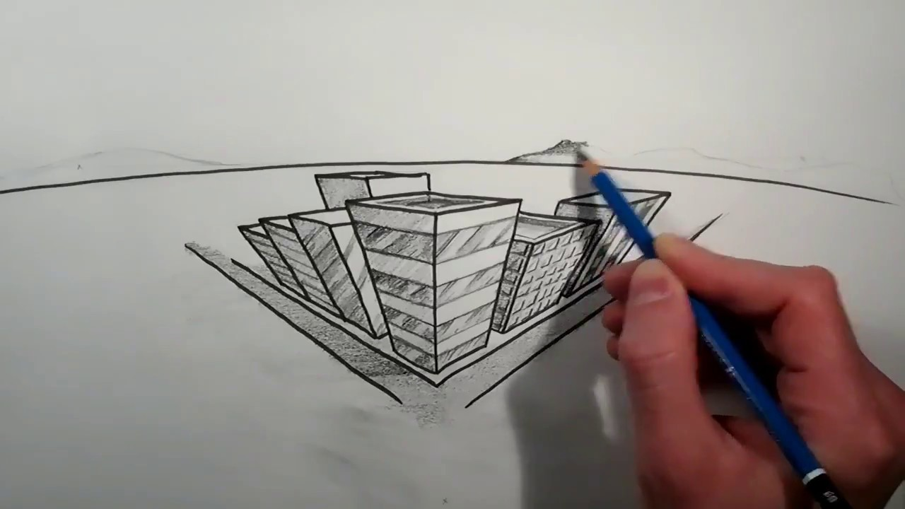 City drawing with 3 point perspective - YouTube