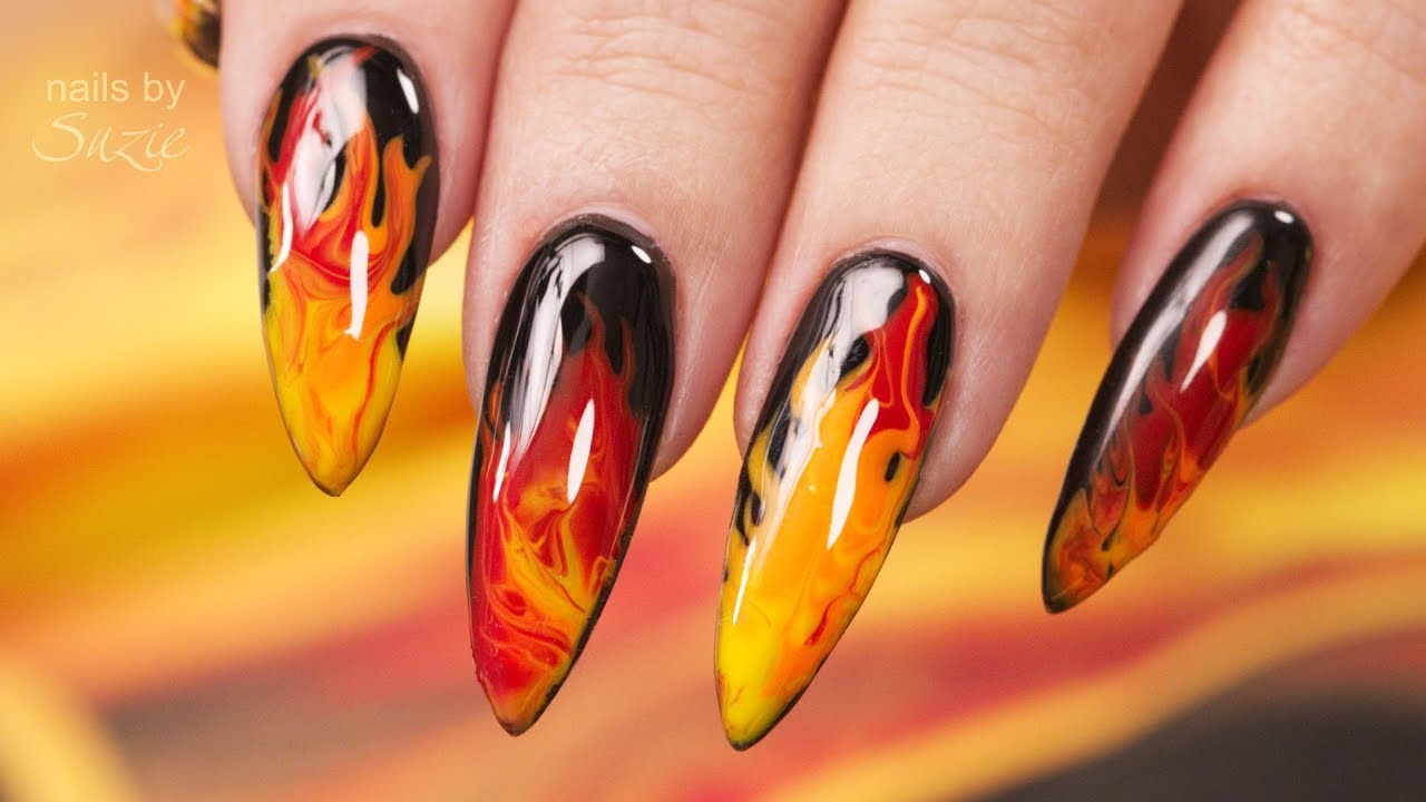 Red Hot Flaming Nails