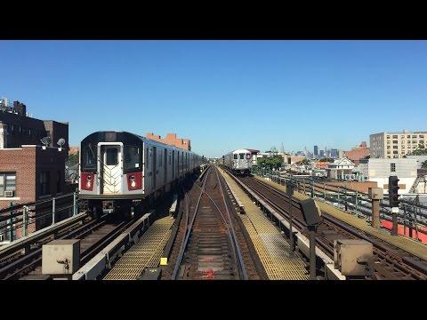 NYC Subway HD 60 FPS: Manhattan Bound Bombardier R62A 7 Express Train Railfan Window (6/24/15)