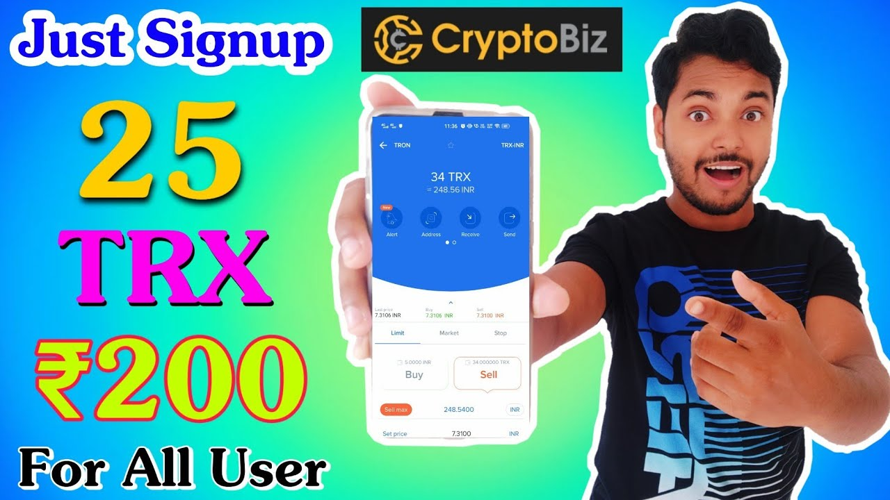 CryptoBiz Exchange Huge Loot 🔥 Just Signup And Earn 25 TRX=₹200, Refer and Earn 5 TRX=₹40