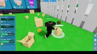 Детские игры Roblox Simulator Симулятор Распаковки коробок на карте и покупка мечей
