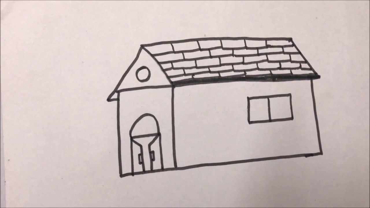 How To Draw Hut Easily For Kids - YouTube
