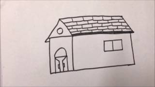 How to draw Hut easily for kids