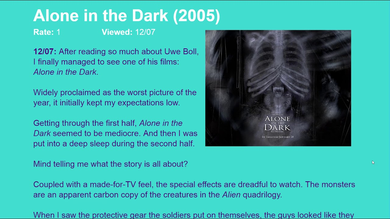 Movie Review Alone In The Dark 2005 Hd Youtube