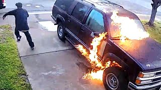 Arsonist Caught on Camera as He Torches SUV