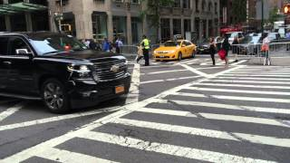 NYPD & UNITED STATES SECRET SERVICE ESCORTING DIPLOMATIC MOTORCADE ON LEXINGTON AVE. IN NYC.