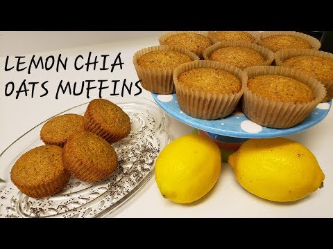 BIA017 LEMON CHIA OAT MUFFINS (flourless breakfast muffins, gluten-free and dairy-free)