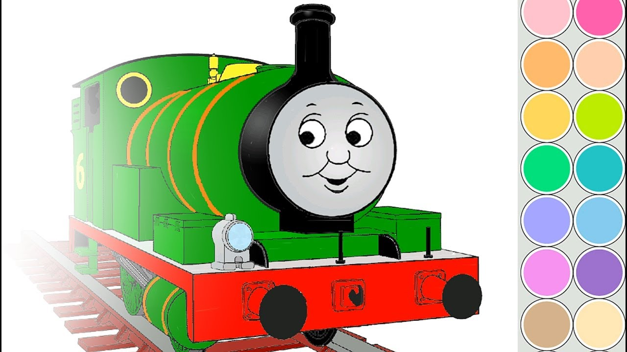 Coloring PERCY train for kids. Drawing animation Thomas and Friends ...
