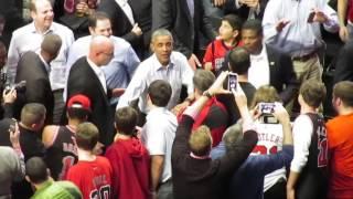President Barack Obama exiting the Bulls vs. Cavs game 10/27/15 United Center Chicago